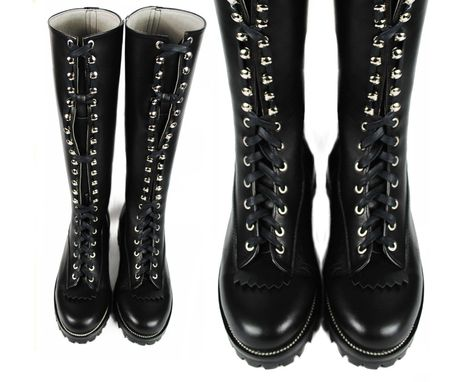 Custom Made Lace To Toe Logger Boots >> Black Leather Tall Boots >> Heavy Duty Boots >>