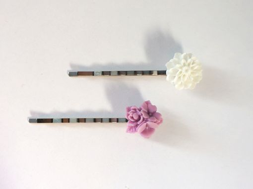 Custom Made Hairpins With Lavender And White Chrysanthemum Bouquet