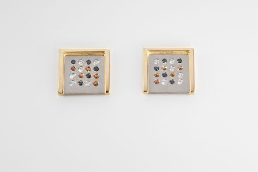 Custom Made Earrings With White And Yellow Gold, Sapphires, Black And White Diamonds