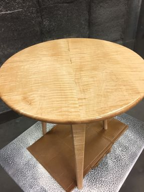 Custom Made Tiger Maple End Table With Walnut Accent