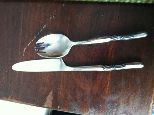 Custom Made Twisted Spork And Knife Set
