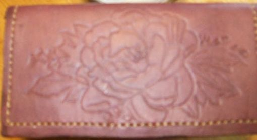 Custom Made Custom Leather Checkbook Cover With Full Rose Design And In Dark Mahogany