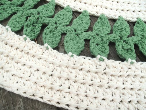 "Custom Made Soft Ecru Off White And Green Cotton Crochet Rug In 41"" Circle Leaf Pattern"