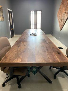 Custom Made Wood And Metal Conference Table