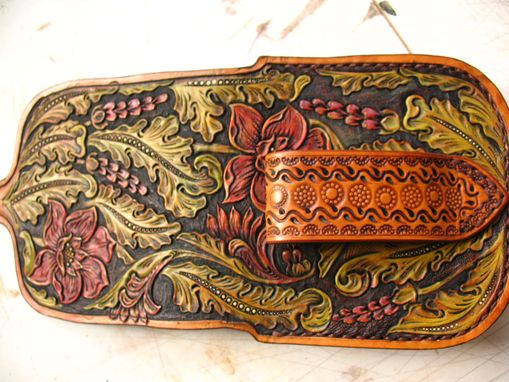 Custom Made Tooled Leather Gun Belt, Sa 1873 Holster And Cap Box