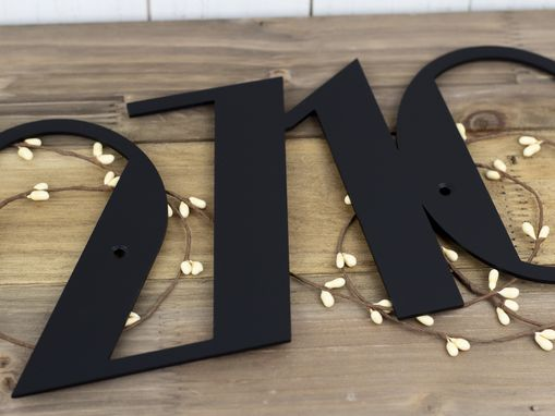 Custom Made Modern House Number Metal Sign - Matte Black Shown