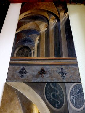 Custom Made Trompe L'Oeil Architectural Music Room Commissioned Artwork