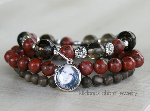 Custom Made Boho Stacking Bracelet With Sesame Red Jasper Beads, Smoke Glass Beads, And Wood Marbles