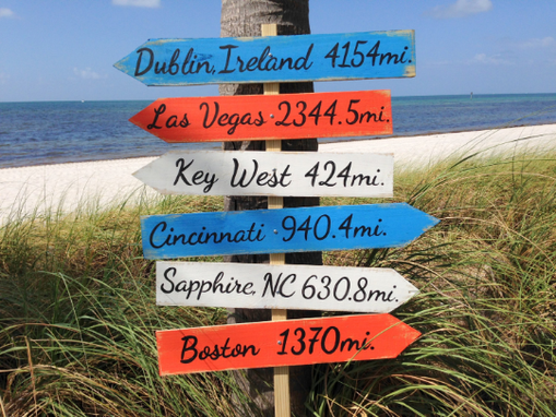 Custom Made Garden Directional Wood Sign, Beach House Decor, Arrow Wooden Sign