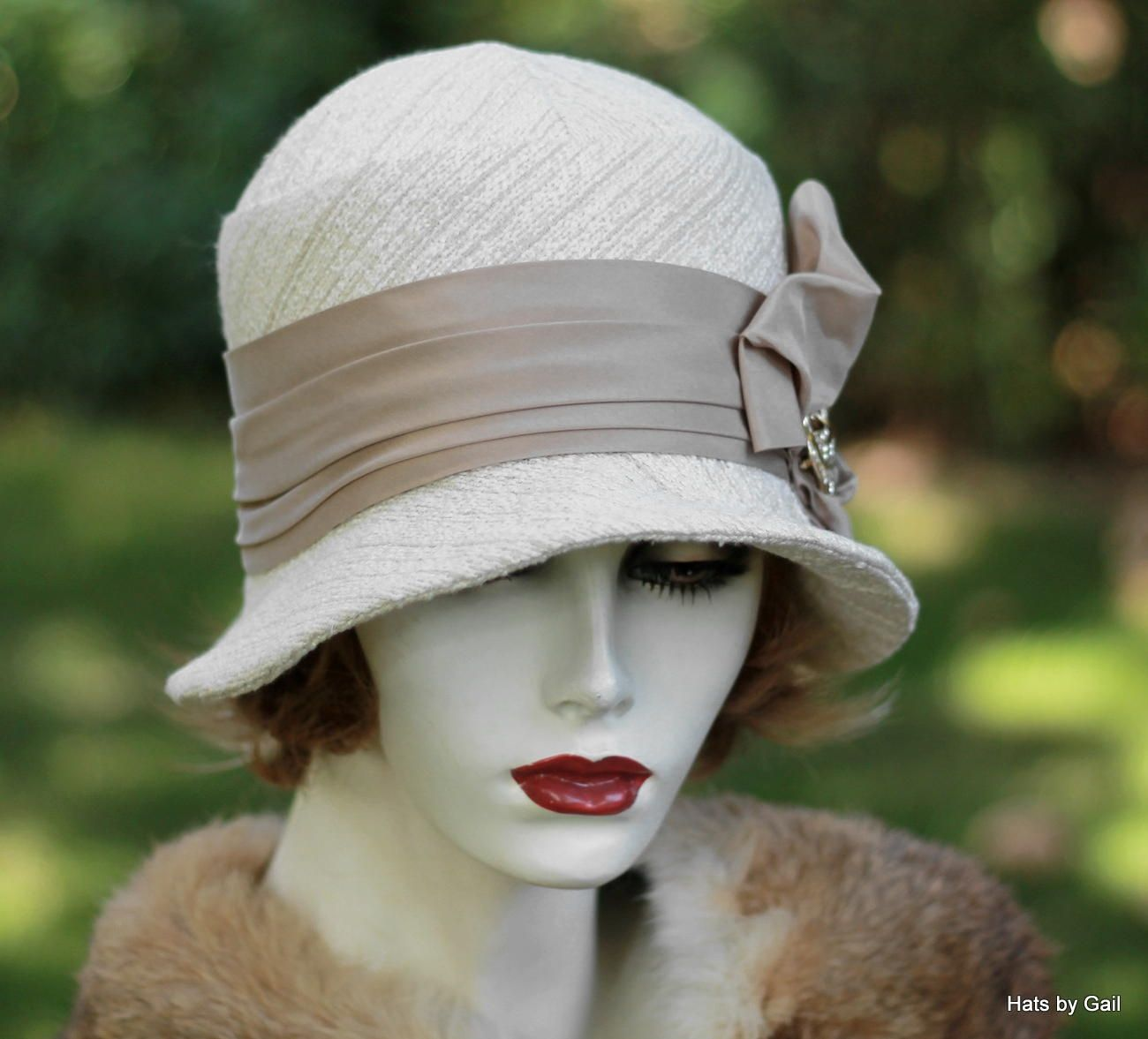 e7f68cec3e1 Custom Made 1920 S Cloche Hat In Ivory And Taupe Heavy Textured Fabric