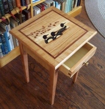 Custom Made Occasional Table With Loons In Marquetry