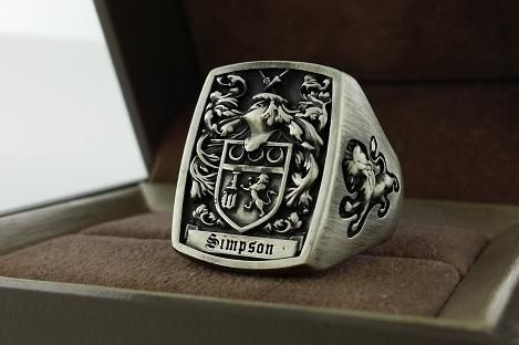 Custom Made Mens Ring Signet Ring Custom Crest Ring
