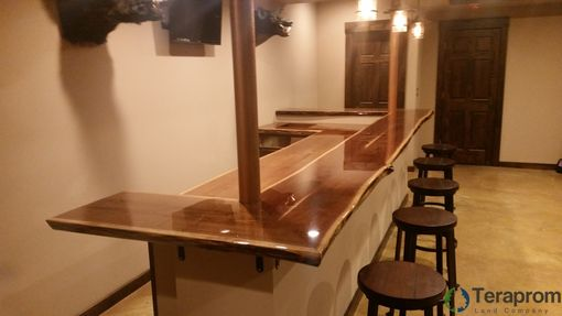 Custom Made Built-In Two Tier Live Edge Walnut Bar