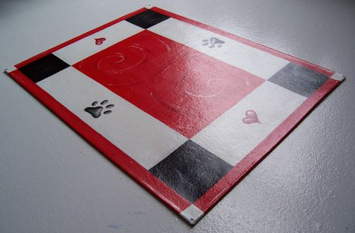 Custom Made Handpainted Floorcloth / Pet Mat / Place Mat