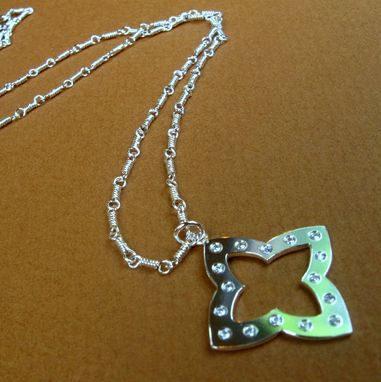 Custom Made Sterling Silver Compass Necklace With Handmade Chain And Hand Set Cubic Zirconia