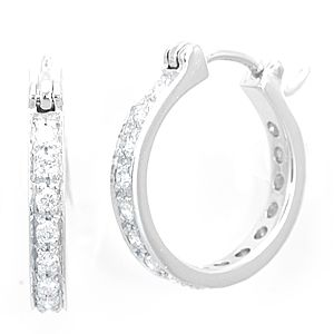 Custom Made Diamond Hoop Earrings In 14k White Gold, Ladies  Earrings, Hoop Earrings