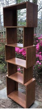 Custom Made Bookcase Or Room Divider Mid Century Modern Finished Custom Made Tall Boy With Extra Height Shelves