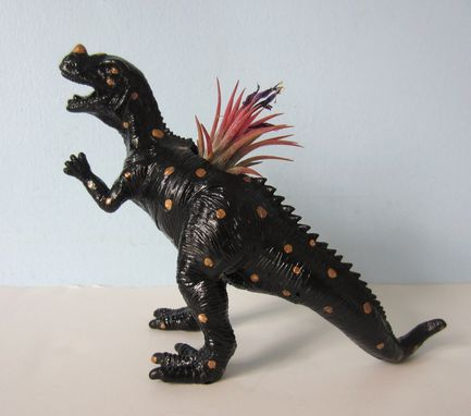 Custom Made Upcycled Toy Planter - Black T-Rex With Gold Spots And Air Plant