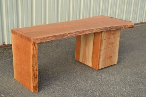 Custom Made Live Edge Cherry Desk With Dovetailed Waterfall Edge