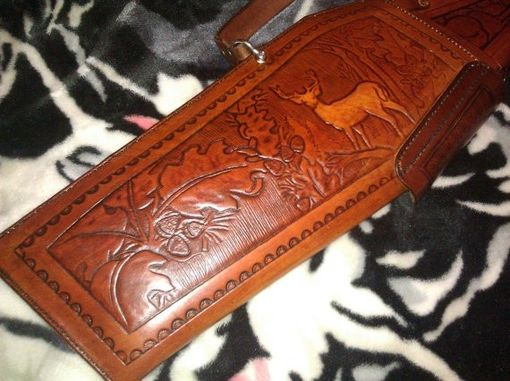 Custom Made Custom 2 Piece Lined Leather Rifle Case Hand Made Tooled Fits Lever Action Rifles No Scope