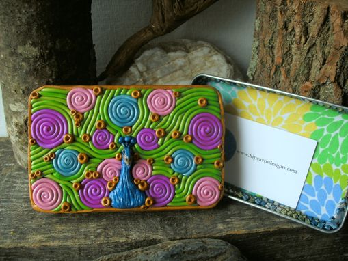 Custom Made Peacock Decorative Storage Tin, Cigarette Case Or Wallet