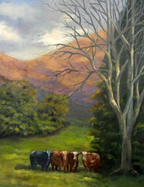 Custom Made Original Cow Landscape Painting In Oil 18 X 24 - 10% Benefits Animal Charities