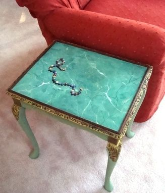 Custom Made Trompe L'Oeil Bead Necklace Painted On Faux Marble Table Surface.