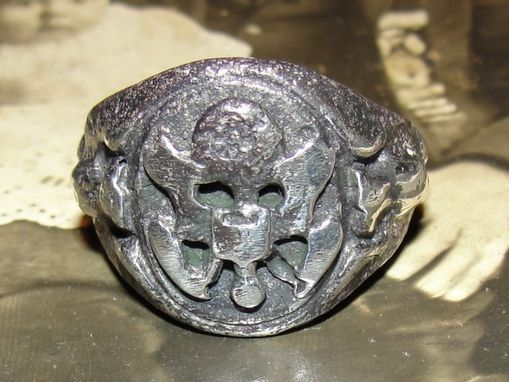 Custom Made Antiqued Sterling Silver World War Ii 2 United States Oval Army Ring