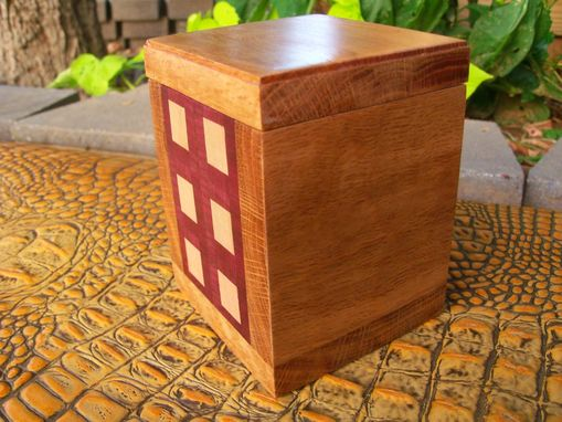 Custom Made Wooden Executive Desk Box With Geometric Inlay