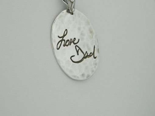 Custom Made Hammered Silver Handwriting Pendant