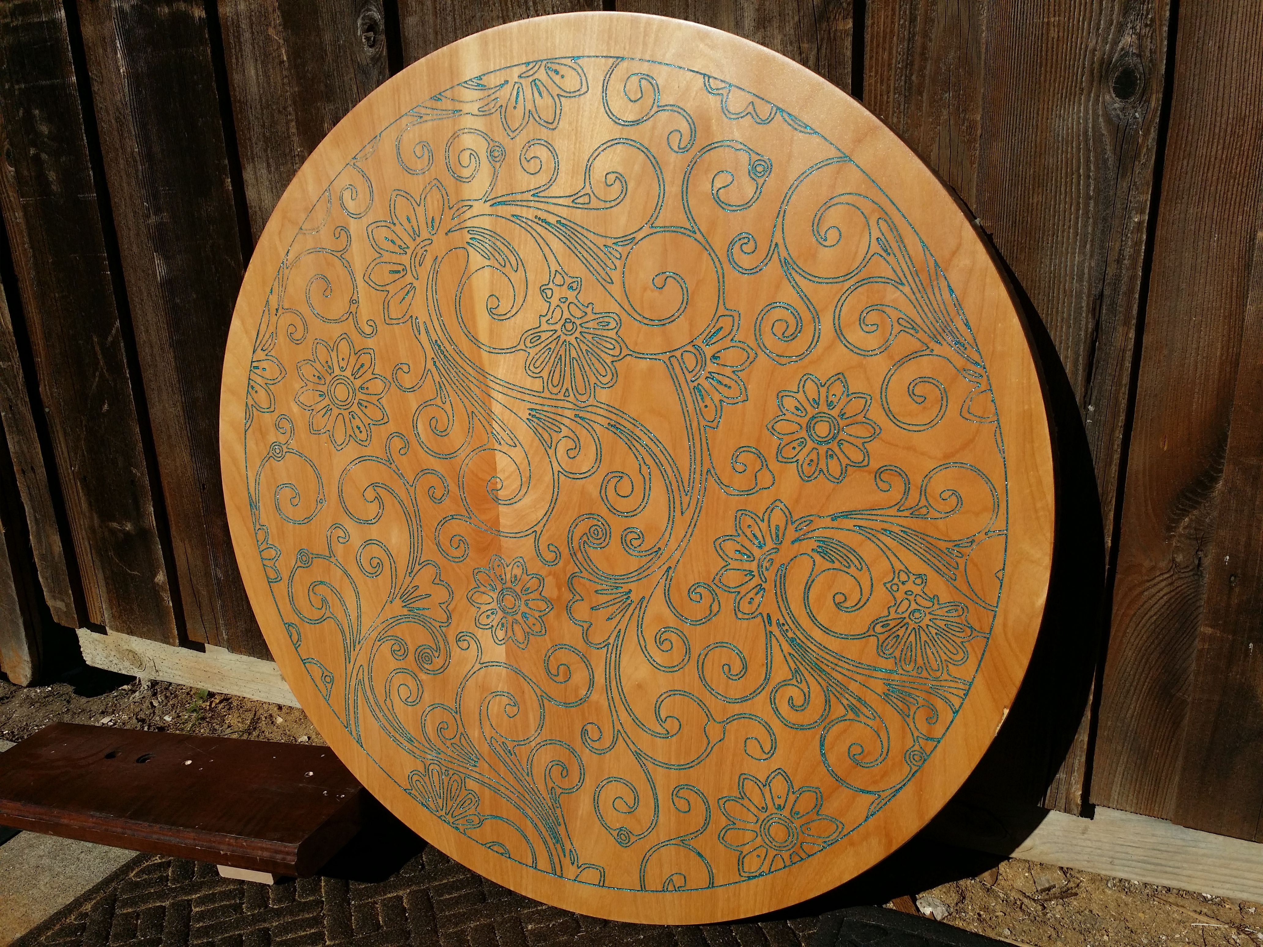 custom made  inch diameter pedestal table with custom inlay: 40 inch round pedestal dining table
