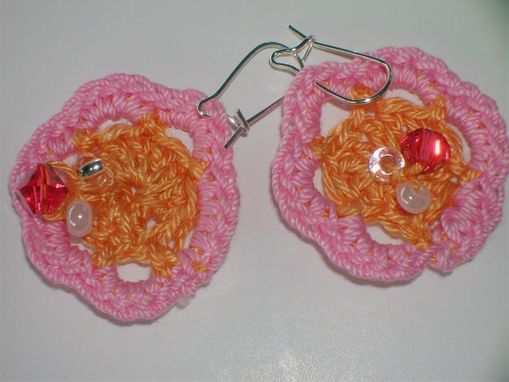 Custom Made Crocheted Pink And Peach Necklace And Earring Set With Beads