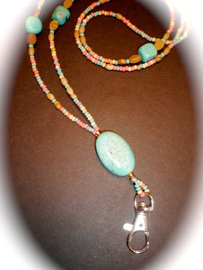 Custom Made Custom Turquoise Beaded Lanyard