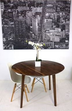 Custom Made Isabelle Mid Century Modern Solid Round Walnut Dining Table