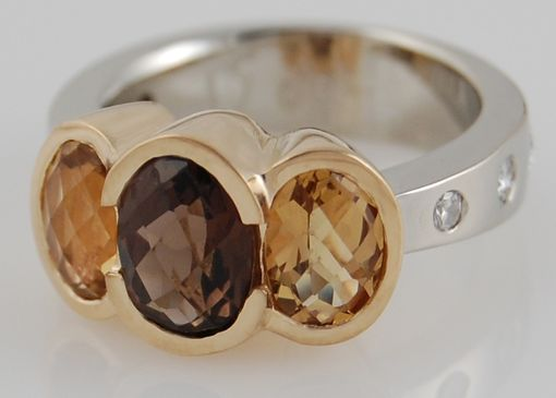 Custom Made 14kw & 18ky Whiskey Quartz, Smoky Quartz, & Diamond Ring
