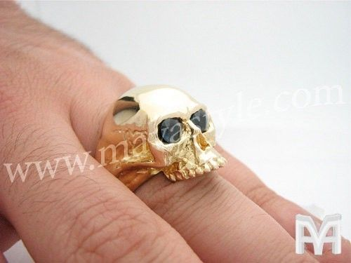 Custom Made Yellow Gold Skull With Sapphire Eyes Ring