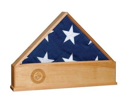 Custom Made Oak Us Flag Display Case With Engraved Marine Corps Emblem