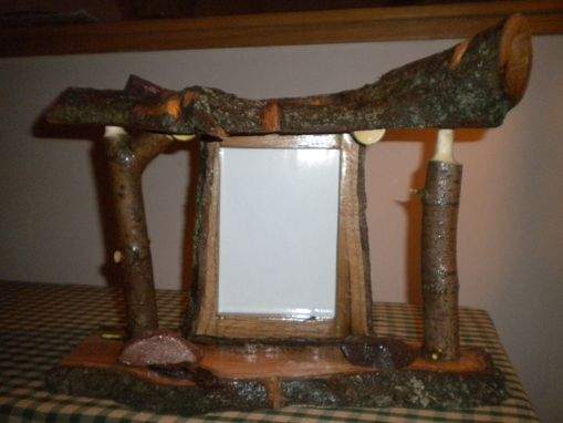 "Custom Made Rustic 5"" X 7"" Free Standing Decorative Log Frame Made With Reclaimed Lumber/Logs"