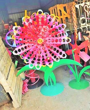 Custom Made Large Metal Flower Outdoor Sculpture By Raymond Guest