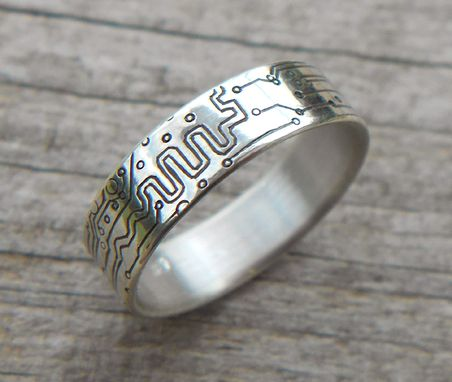 Custom Made Circuit Board Wedding Rings