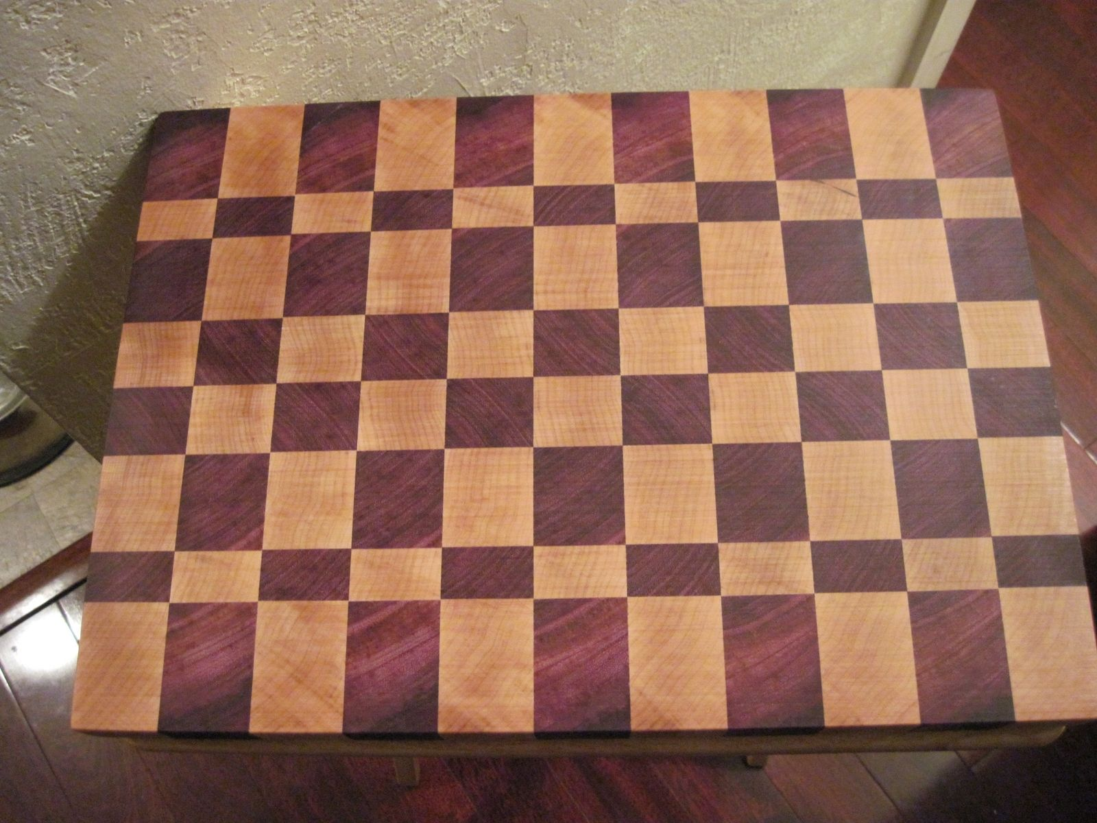 Handmade Purple Heart And Maple End Grain Cutting Board By