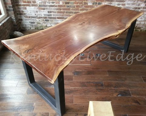 Custom Made Natural Live Edge Dining Table, Industrial, Modern Dining Table, Walnut Dining Table