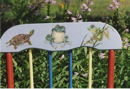 Custom Made Vintage Rocking Chair Painted With Flowers And Critters
