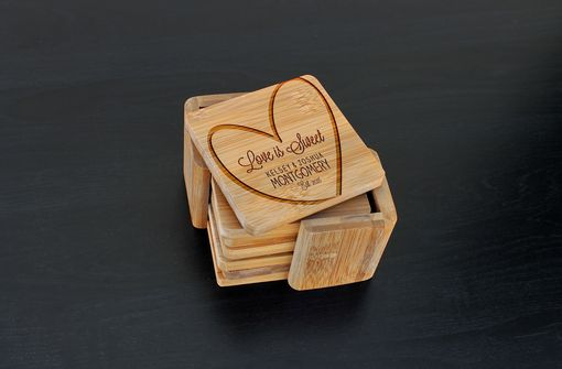 Custom Made Custom Bamboo Coasters, Custom Engraved Coasters --Cst-Bam-Love Is Sweet Montgomery