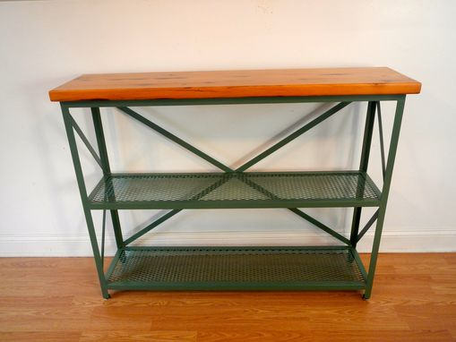 Custom Made Welded Steel And Reclaimed Wood Console Table / Shelf / Accent Table