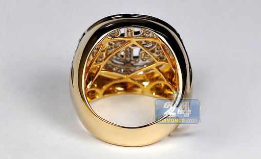 Custom Made 14k Yellow Gold 1.91 Ct Diamond Dollar Sign Mens Ring