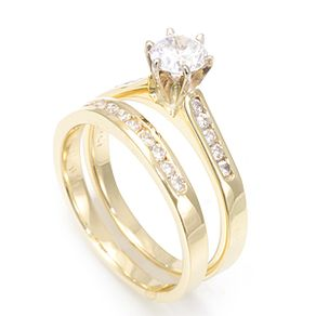 Diamond Ring And Matching Band In 14k Yellow Gold Wedding Set Rings