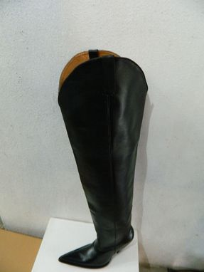 Custom Made Custom Made 34¨Tall Black Leather Cowboy Boots 5¨ High Thin Heels Made To Order.