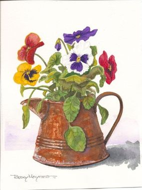 Custom Made Watercolor Painting Of Pansies In A Copper Pitcher