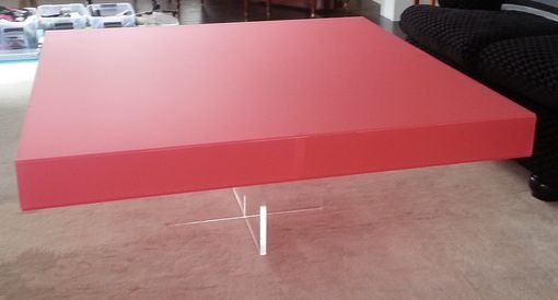 "Custom Made Acrylic Coffee Table - ""X"" Based With Custom Colored Square Top - Hand Crafted And Made To Order"